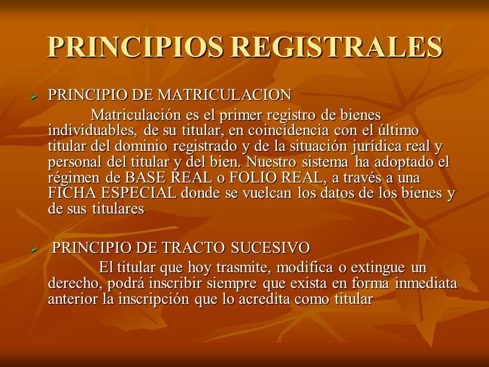 PRINCIPIOS REGISTRALES PRINCIPIO DE MATRICULACION PRINCIPIO DE MATRICULACION Matriculación es el primer registro de bienes individuables, de su titula