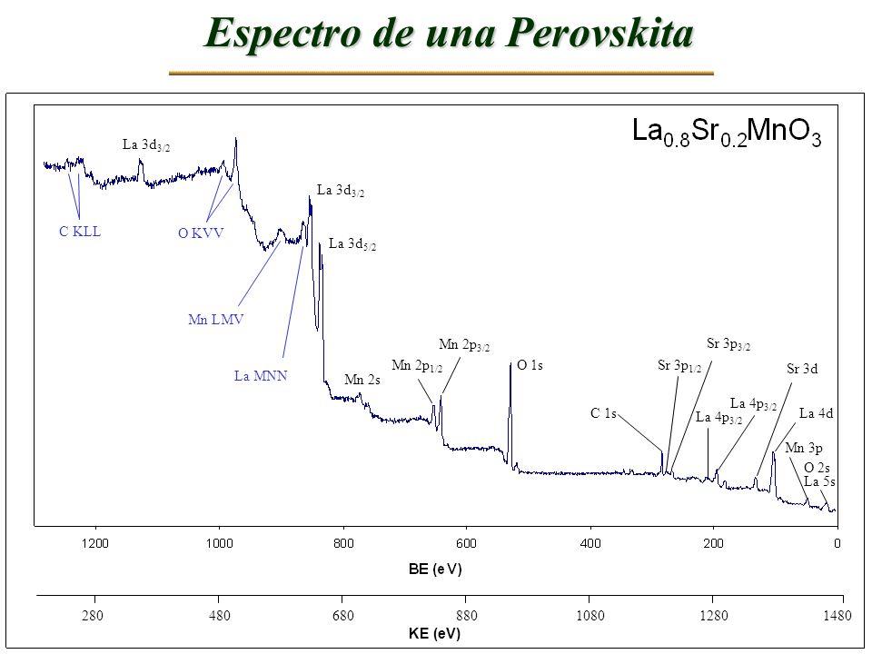KE (eV) 148012801080880680480280 Espectro de una Perovskita La 4d Sr 3d C 1s Sr 3p 1/2 Sr 3p 3/2 Mn 3p O 2s La 5s La 4p 3/2 O 1s Mn 2p 3/2 Mn 2p 1/2 M