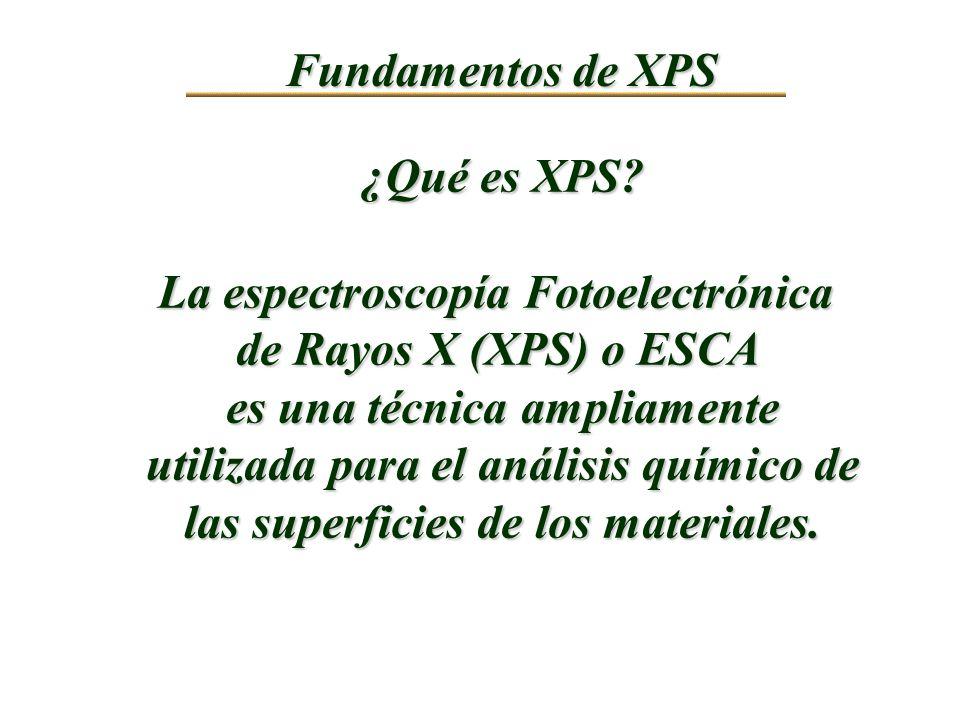 Fundamentos de XPS ¿Qué es XPS? La espectroscopía Fotoelectrónica de Rayos X (XPS) o ESCA es una técnica ampliamente utilizada para el análisis químic