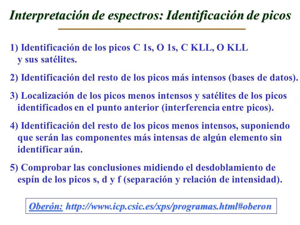 Interpretación de espectros: Identificación de picos 1) Identificación de los picos C 1s, O 1s, C KLL, O KLL y sus satélites. 2) Identificación del re