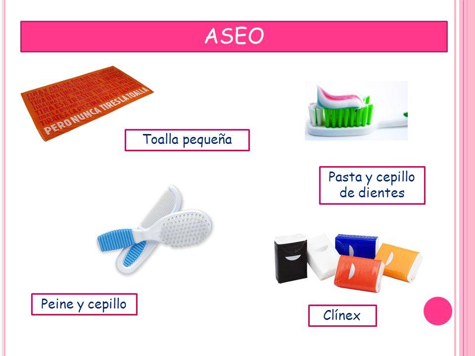 ASEO Toalla pequeña Pasta y cepillo de dientes Peine y cepillo Clínex