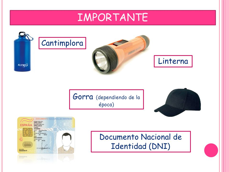 IMPORTANTE Linterna Documento Nacional de Identidad (DNI) Cantimplora Gorra (dependiendo de la época)
