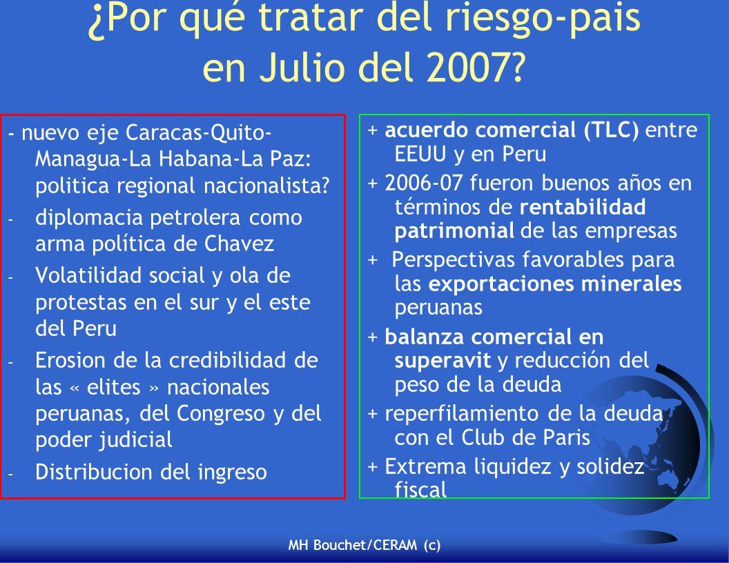 MH Bouchet/CERAM (c) ¿ Por qué tratar del riesgo-pais en Julio del 2007? - nuevo eje Caracas-Quito- Managua-La Habana-La Paz: politica regional nacion