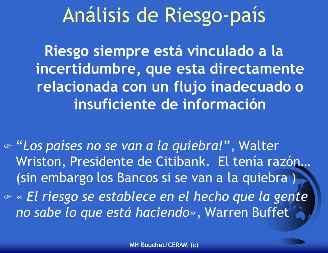 MH Bouchet/CERAM (c) Análisis de Riesgo-país Riesgo siempre está vinculado a la incertidumbre, que esta directamente relacionada con un flujo inadecuado o insuficiente de información FLos países no se van a la quiebra!, Walter Wriston, Presidente de Citibank.