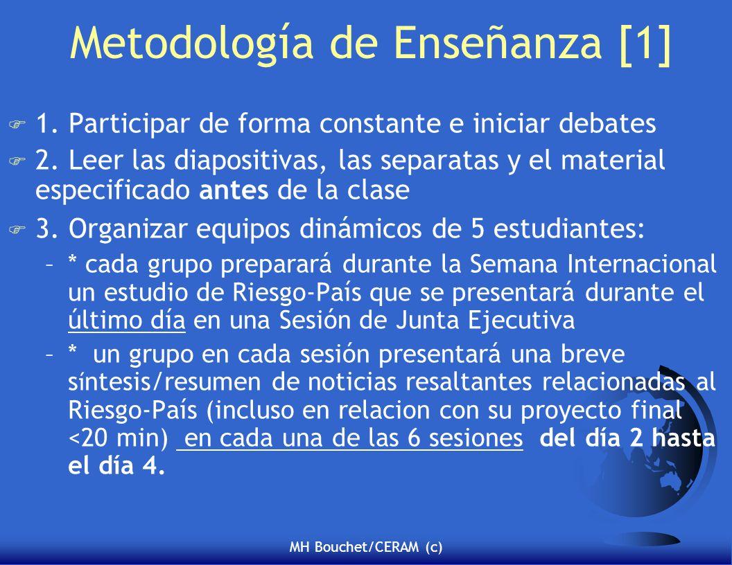 MH Bouchet/CERAM (c) Metodología de Enseñanza [1] F 1. Participar de forma constante e iniciar debates F 2. Leer las diapositivas, las separatas y el