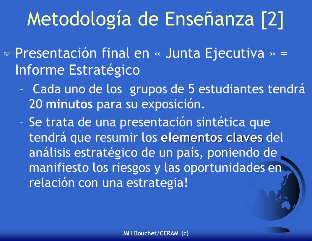 MH Bouchet/CERAM (c) Metodología de Enseñanza [2] F Presentación final en « Junta Ejecutiva » = Informe Estratégico – Cada uno de los grupos de 5 estudiantes tendrá 20 minutos para su exposición.