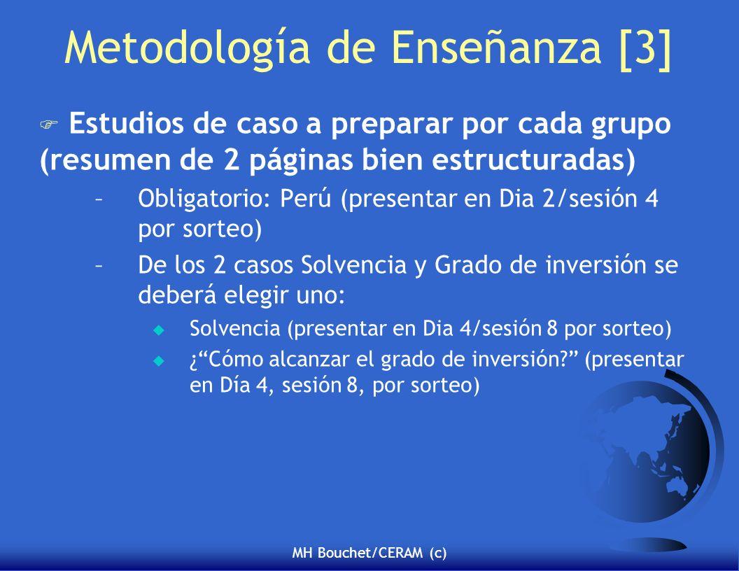 MH Bouchet/CERAM (c) Metodología de Enseñanza [3] F Estudios de caso a preparar por cada grupo (resumen de 2 páginas bien estructuradas) –Obligatorio: