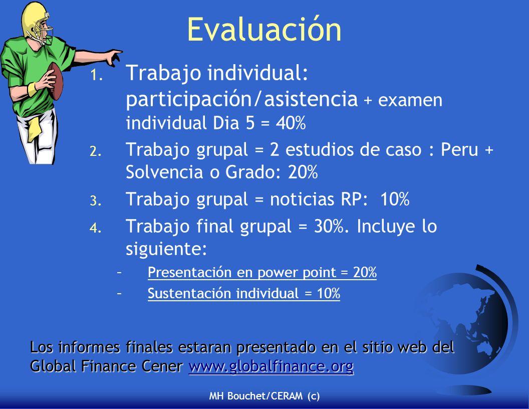 MH Bouchet/CERAM (c) Evaluación 1. Trabajo individual: participación/asistencia + examen individual Dia 5 = 40% 2. Trabajo grupal = 2 estudios de caso