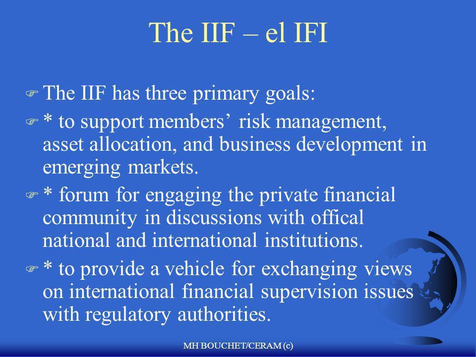 MH BOUCHET/CERAM (c) The Institute for International Finance F Balanza de cuenta corriente F Financiamiento Externo F E&Os F Cambio en reservas intern