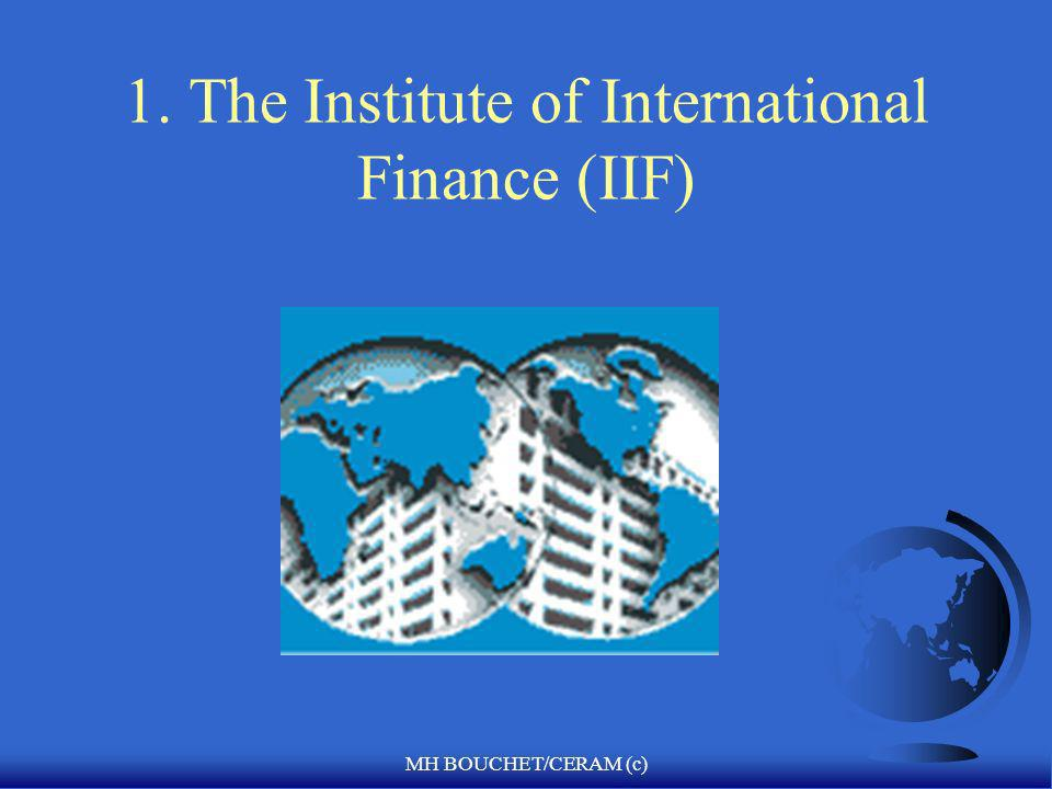 MH BOUCHET/CERAM (c) Specialized country risk analysis institutions F IIF (Washington) F IIE (Washington) F EIU (London) F Global Finance-CERAM F BERI (Business Environment Risk Index) F Dun and Bradstreet, Moody s, S & P, Fitch IBCA F Institutional Investor, Euromoney F Frost & Sullivan F Transparency International F Heritage Foundation, Davos-WEF, Cato Institute, IMD, AT Kearney…