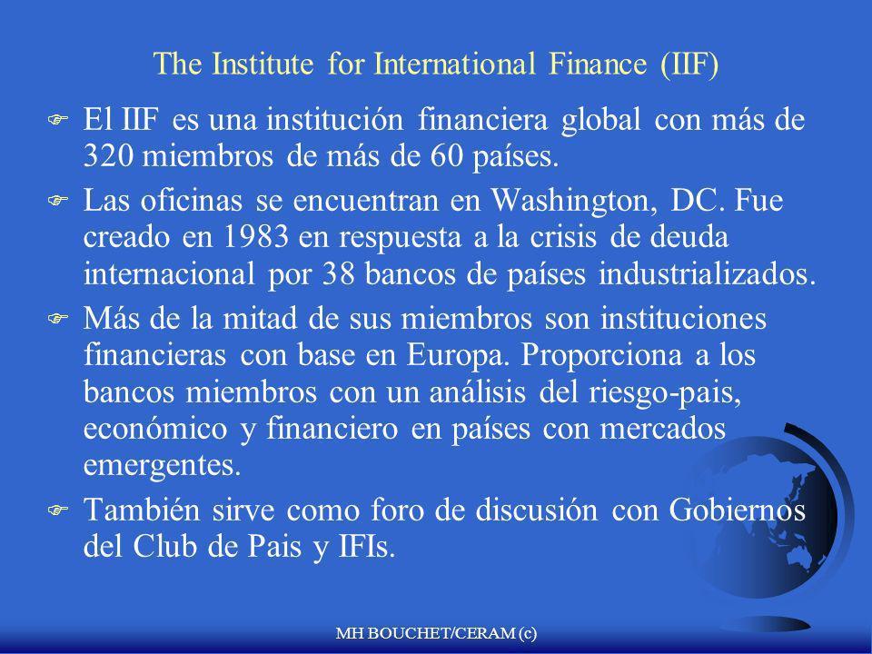 MH BOUCHET/CERAM (c) MOODY´S COUNTRY RATING (JUNIO 2007) Grado de Inversión Fuente: Scotiabank PERU Baa1 Ba2 Ba3 COLOMBIA PERU