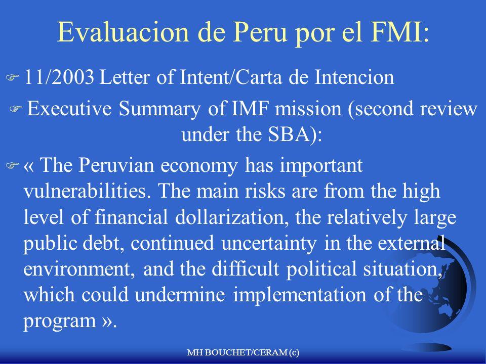 MH BOUCHET/CERAM (c) Peru y el FMI F Acuerdo de estabilizacion de 3 a ñ os F Volumen del credito otorgado F Quota total F Tercer control del programa