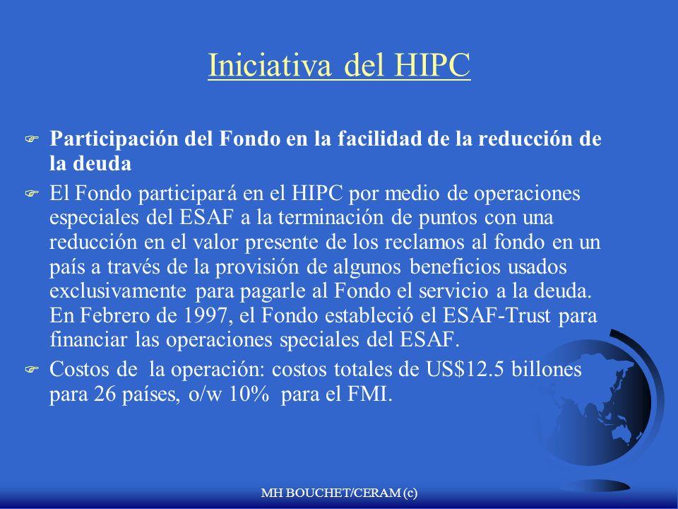 MH BOUCHET/CERAM (c) Iniciativa del HIPC F Sostenimiento de la deuda F Niveles sostenibles de deuda en el tiempo de la terminación del NPV de las deud