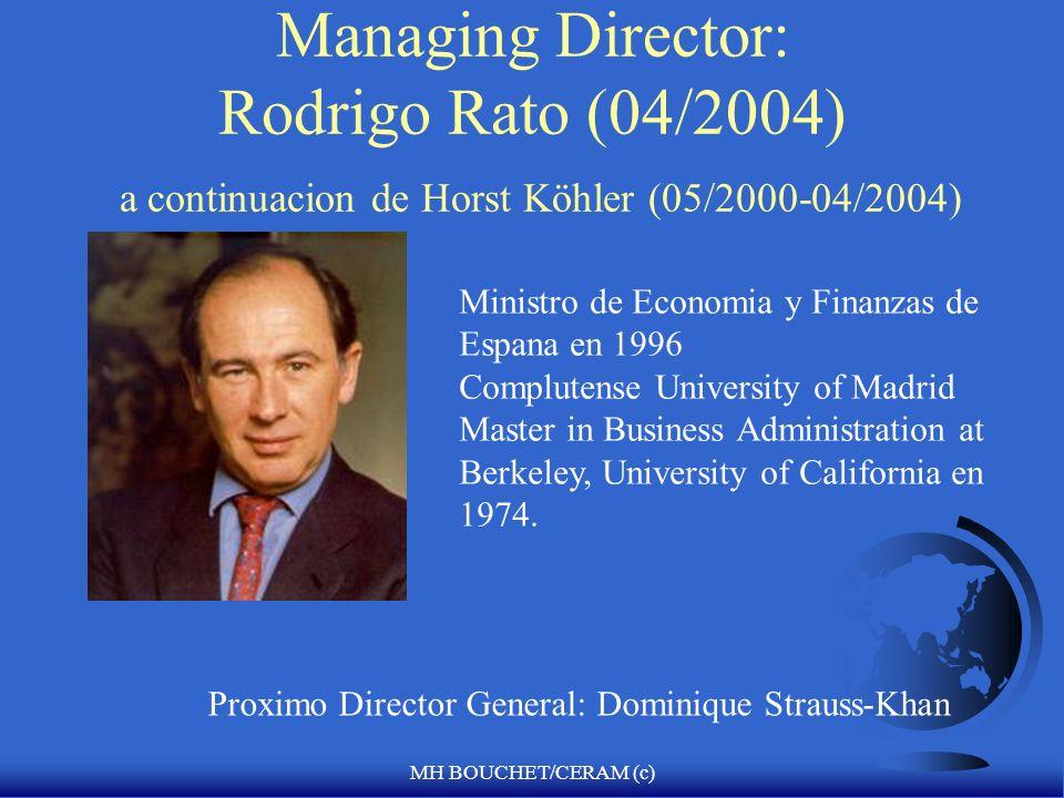 MH BOUCHET/CERAM (c) Managing Director: Rodrigo Rato (04/2004) a continuacion de Horst Köhler (05/2000-04/2004) Ministro de Economia y Finanzas de Espana en 1996 Complutense University of Madrid Master in Business Administration at Berkeley, University of California en 1974.