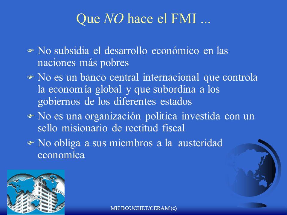 MH BOUCHET/CERAM (c) Peru y el FMI F Acuerdo de estabilizacion de 3 a ñ os F Volumen del credito otorgado F Quota total F Tercer control del programa F Advertencias : bajar la dolarización (Mivivienda) y mantener un nivel adecuado de reservas internacionales F Firmado Junio 2004 y Diciembre 2005 (F.