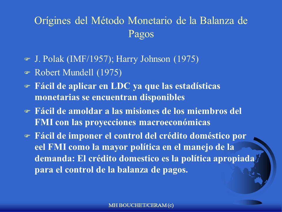 MH BOUCHET/CERAM (c) Orígines del Método Monetario de la Balanza de Pagos F J.
