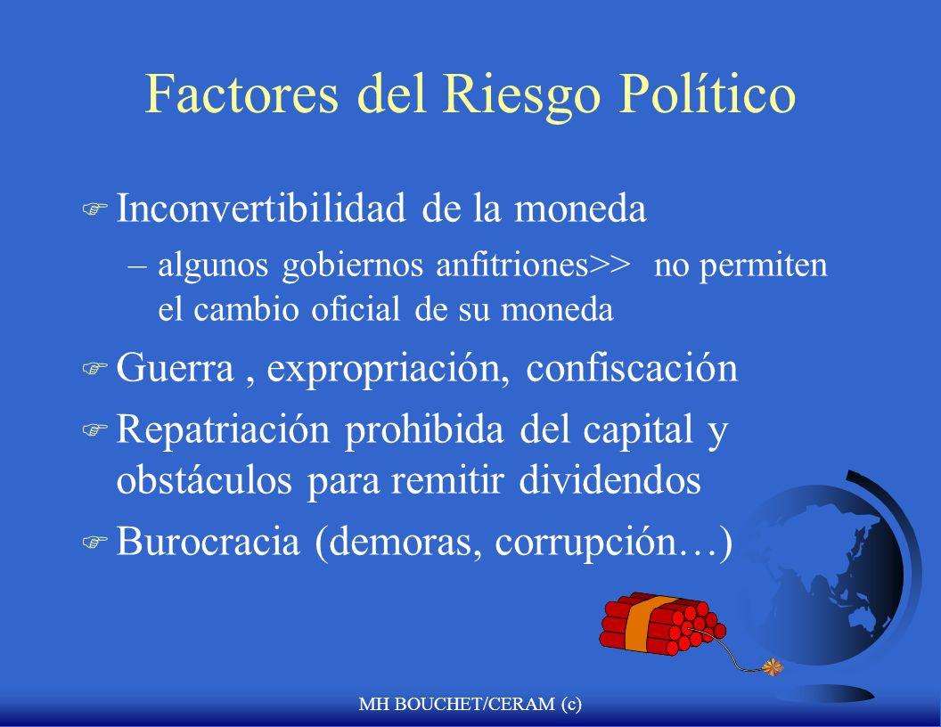 MH BOUCHET/CERAM (c) Factores del Riesgo Político F Fragmentacion étnica/linguística F Brecha entre evolución económica y política/institucional F Mal