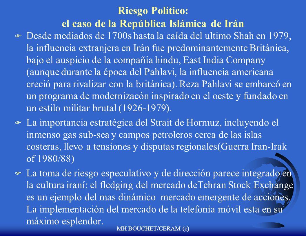 MH BOUCHET/CERAM (c) Riesgo Político: el caso de la República Islámica de Irán F Irán : durante los ultimos 3,000 years, Persia fue conquistada por un