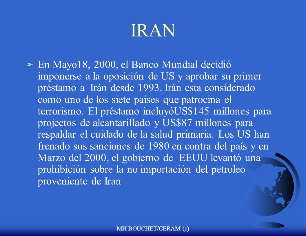 MH BOUCHET/CERAM (c) Riesgo Político: el caso de la República Islámica de Irán F Desde mediados de 1700s hasta la caída del ultimo Shah en 1979, la in