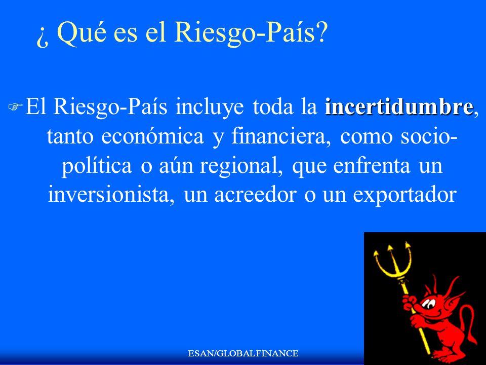 ESAN/GLOBAL FINANCE ¿ Qué es el Riesgo-País? incertidumbre F El Riesgo-País incluye toda la incertidumbre, tanto económica y financiera, como socio- p