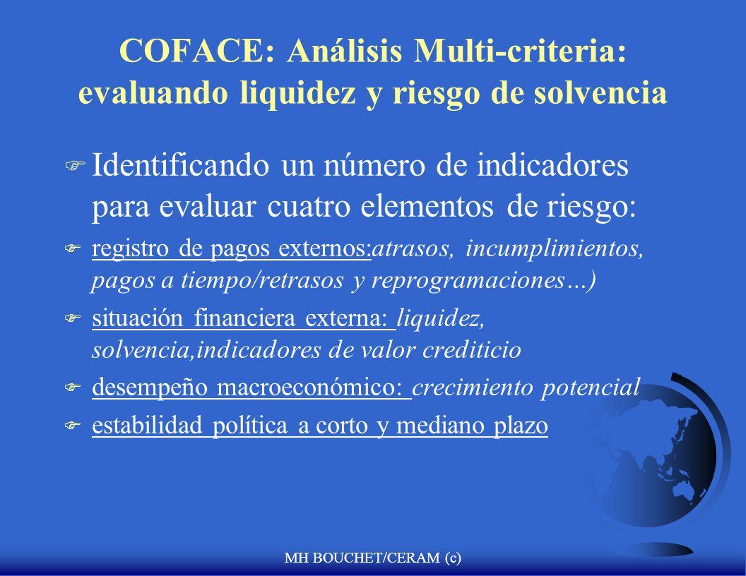 MH BOUCHET/CERAM (c) COFACE: Análisis Multi-criteria: evaluando liquidez y riesgo de solvencia F Identificando un número de indicadores para evaluar c