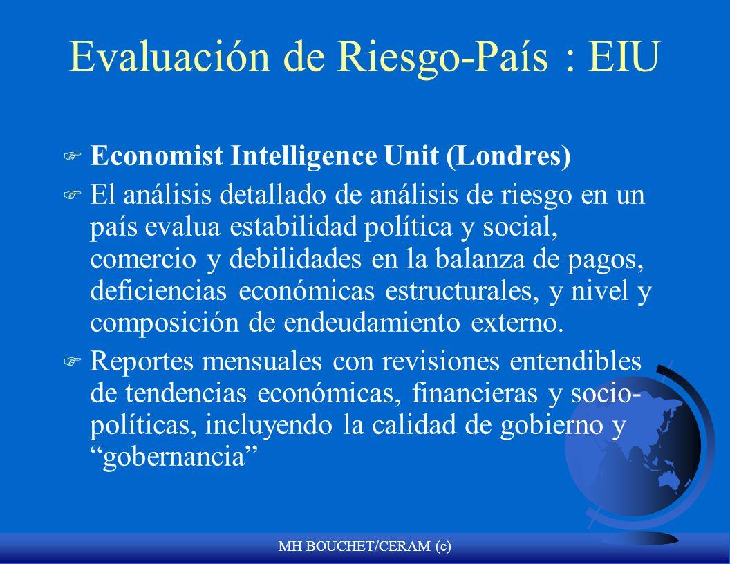 MH BOUCHET/CERAM (c) Evaluación de Riesgo-País : EIU F Economist Intelligence Unit (Londres) F El análisis detallado de análisis de riesgo en un país