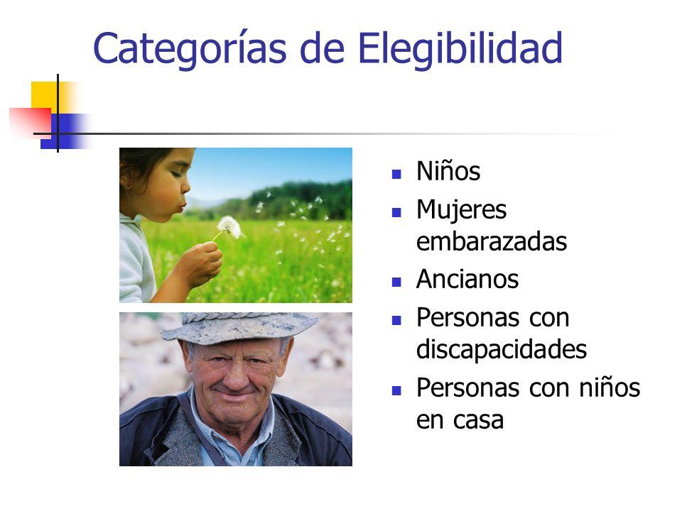 Categorías de Elegibilidad Niños Mujeres embarazadas Ancianos Personas con discapacidades Personas con niños en casa