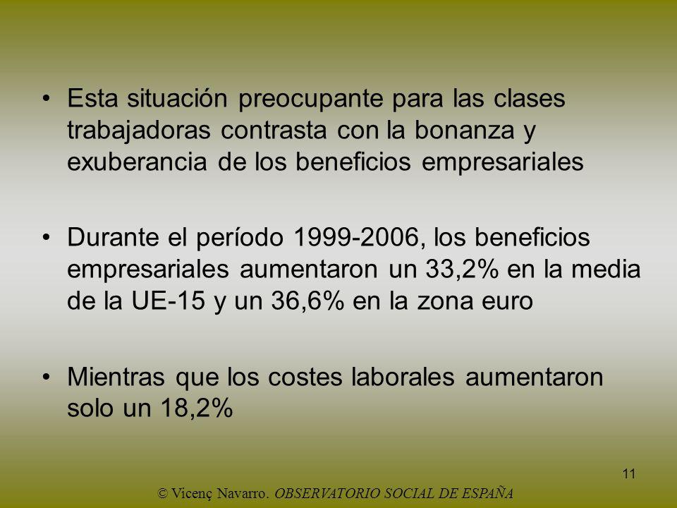 11 Esta situación preocupante para las clases trabajadoras contrasta con la bonanza y exuberancia de los beneficios empresariales Durante el período 1
