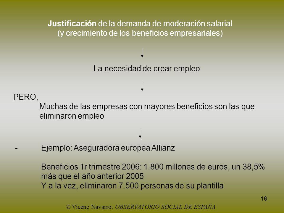 16 Justificación de la demanda de moderación salarial (y crecimiento de los beneficios empresariales) La necesidad de crear empleo PERO, Muchas de las
