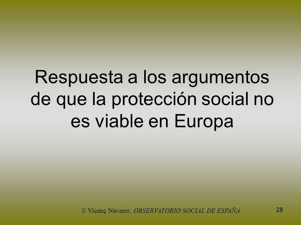 28 Respuesta a los argumentos de que la protección social no es viable en Europa © Vicenç Navarro. OBSERVATORIO SOCIAL DE ESPAÑA