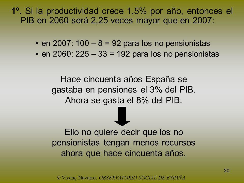 30 1º. Si la productividad crece 1,5% por año, entonces el PIB en 2060 será 2,25 veces mayor que en 2007: en 2007: 100 – 8 = 92 para los no pensionist