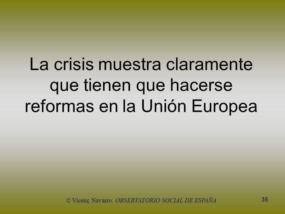35 La crisis muestra claramente que tienen que hacerse reformas en la Unión Europea © Vicenç Navarro. OBSERVATORIO SOCIAL DE ESPAÑA