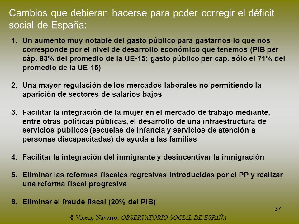 37 Cambios que debieran hacerse para poder corregir el déficit social de España: 1.Un aumento muy notable del gasto público para gastarnos lo que nos