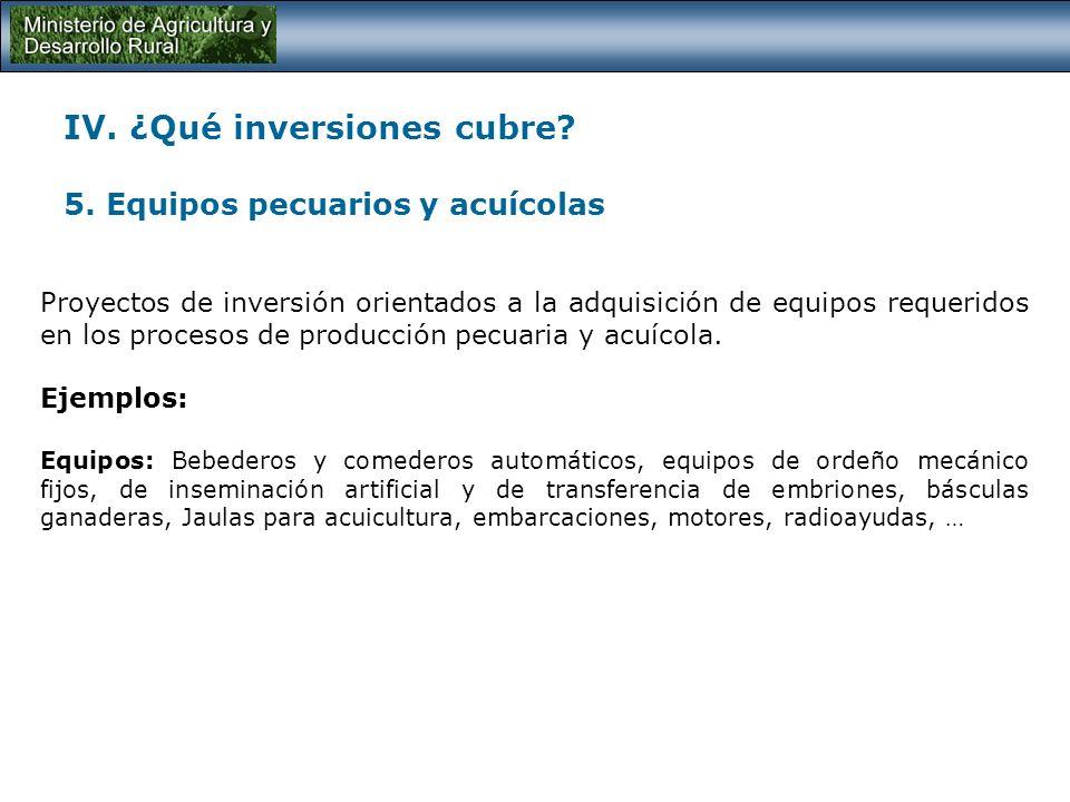 IV. ¿Qué inversiones cubre? 4. Maquinaria y equipos para la producción agrícola Proyectos de inversión orientados a la adquisición de maquinaria, equi