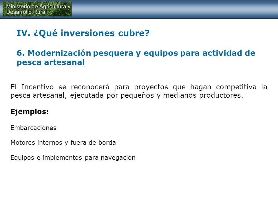 IV. ¿Qué inversiones cubre? 5. Equipos pecuarios y acuícolas Proyectos de inversión orientados a la adquisición de equipos requeridos en los procesos
