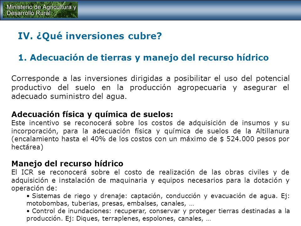 IV. ¿Qué inversiones cubre? Pequeño Productor: Activos totales < 46 MM Mediano Productor: Activos totales 4.080 MM Gran Productor:Activos totales > 4.