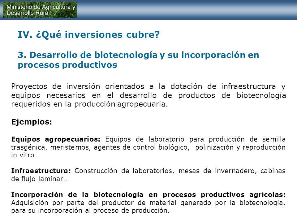 IV. ¿Qué inversiones cubre? 2. Obras de Infraestructura para la producción Corresponde a las inversiones en proyectos orientados a la dotación de infr