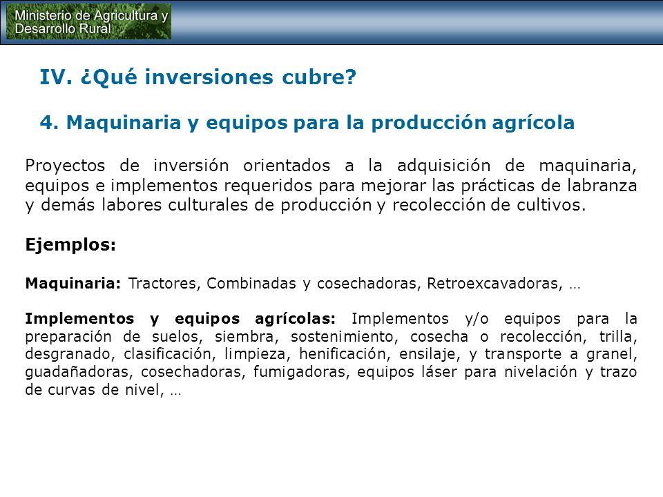 IV. ¿Qué inversiones cubre? 3. Desarrollo de biotecnología y su incorporación en procesos productivos Proyectos de inversión orientados a la dotación