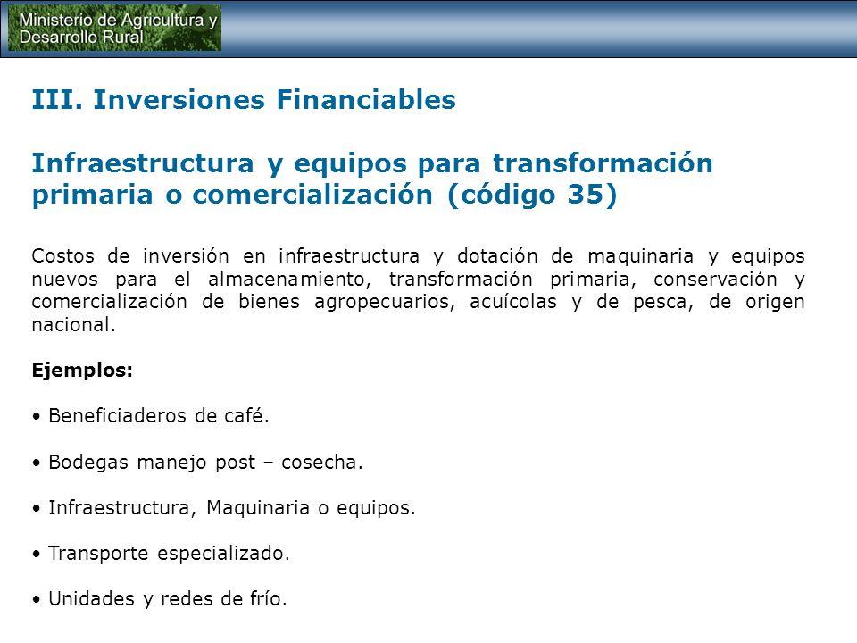 III. Inversiones Financiables Infraestructura para la producción (código 33) Costos de inversión para la dotación de infraestructura de producción com