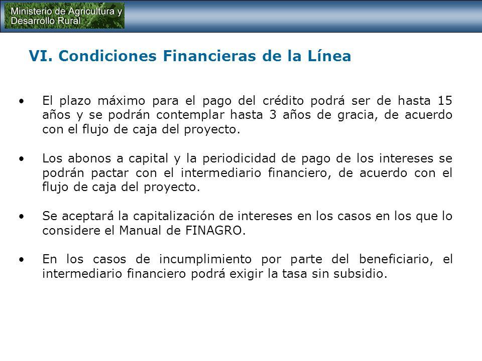 VI. Condiciones Financieras de la Línea La tasa de interés para todos los beneficiarios de esta línea será del DTF e.a.– 2,0% independientemente del t