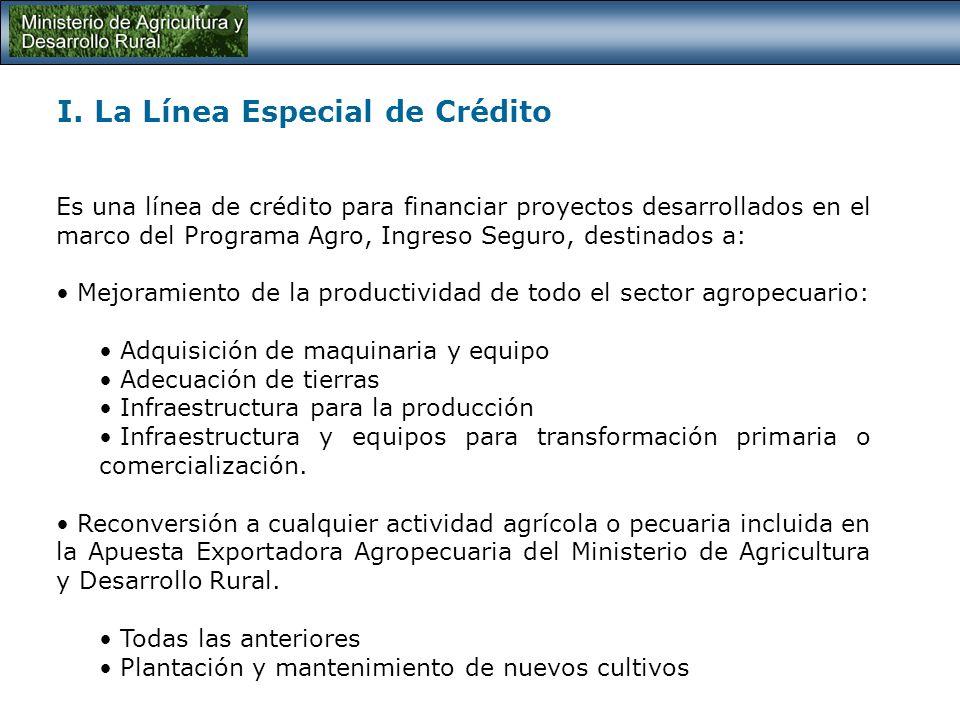 TEMAS: I. La Línea Especial de Crédito II. Apuesta Exportadora Agropecuaria MADR III.