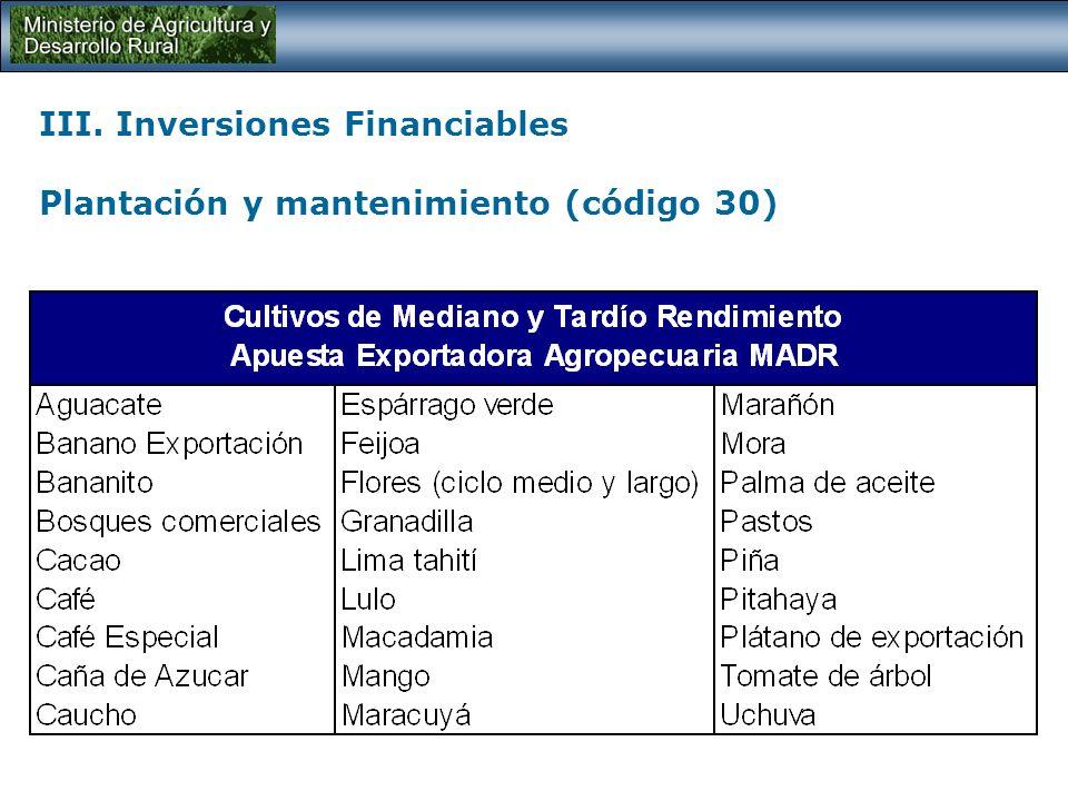 III. Inversiones Financiables Plantación y mantenimiento (código 30) Financiación de los costos directos para el establecimiento y su sostenimiento du