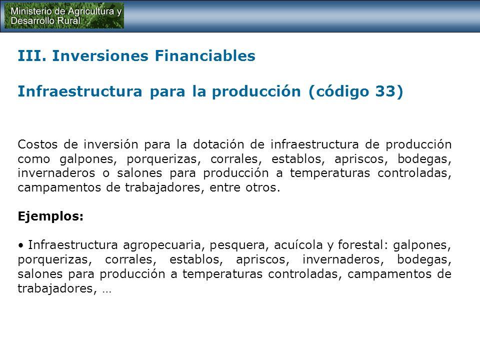 III. Inversiones Financiables Adecuación de tierras (código 33) Costos de inversión en actividades cuya finalidad sea mejorar las condiciones de produ