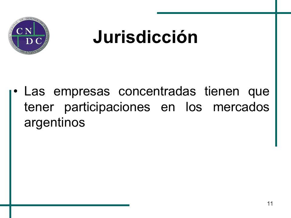 11 Jurisdicción Las empresas concentradas tienen que tener participaciones en los mercados argentinos