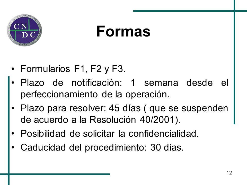 12 Formas Formularios F1, F2 y F3.