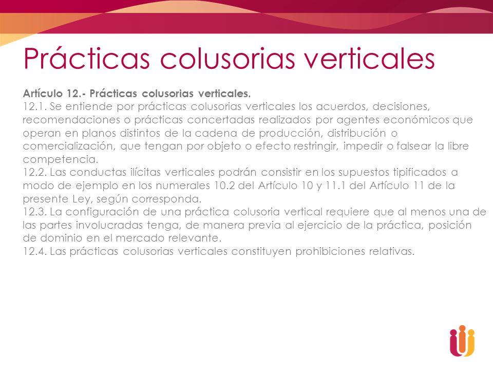 Prácticas colusorias verticales Artículo 12.- Prácticas colusorias verticales. 12.1. Se entiende por prácticas colusorias verticales los acuerdos, dec