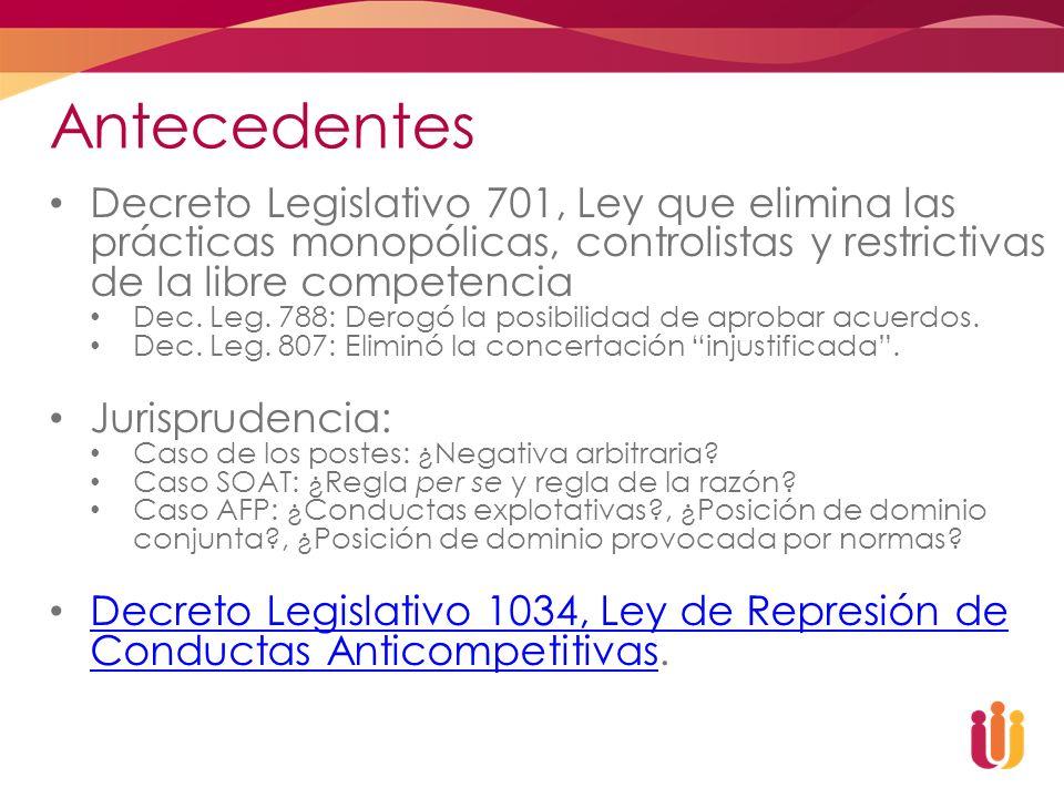 Antecedentes Decreto Legislativo 701, Ley que elimina las prácticas monopólicas, controlistas y restrictivas de la libre competencia Dec. Leg. 788: De