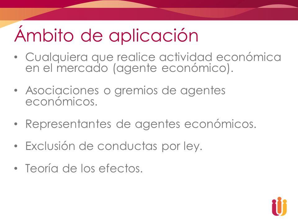 Ámbito de aplicación Cualquiera que realice actividad económica en el mercado (agente económico). Asociaciones o gremios de agentes económicos. Repres
