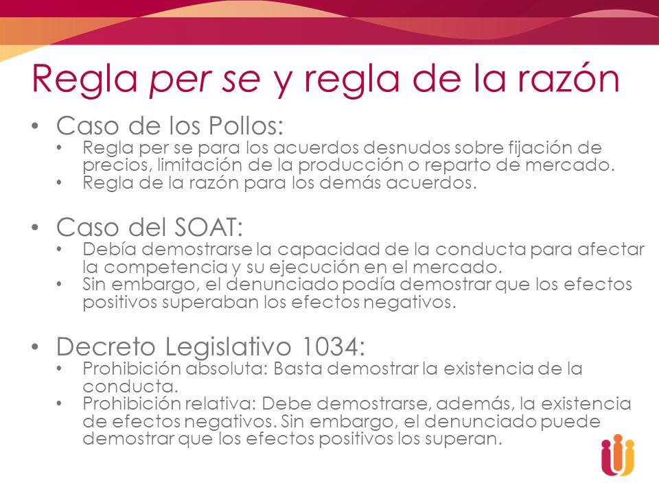 Regla per se y regla de la razón Caso de los Pollos: Regla per se para los acuerdos desnudos sobre fijación de precios, limitación de la producción o