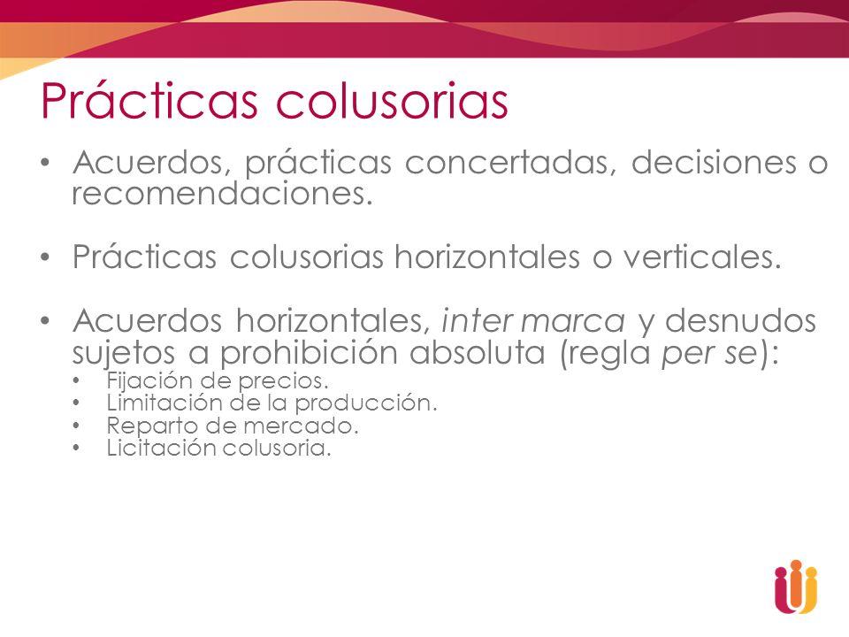 Prácticas colusorias Acuerdos, prácticas concertadas, decisiones o recomendaciones. Prácticas colusorias horizontales o verticales. Acuerdos horizonta